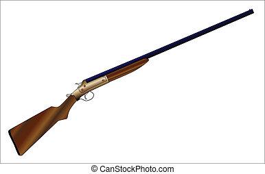 Shotgun - A typical 12 guage shotgun over a white background