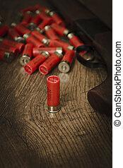 Shotgun Ammunition - 12 gauge ammunition on the floor with...
