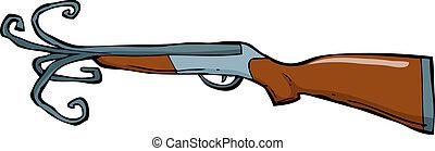 Shotgun barrel with a torn vector illustration