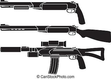 shotgun, gun and rifle. stencil