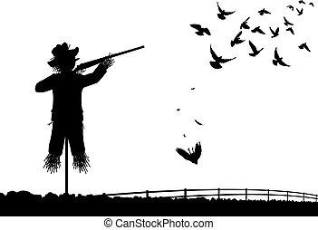Shotgun scarecrow - Editable vector silhouette of a...