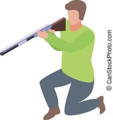 Shotgun shooter icon. Isometric of shotgun shooter vector icon for web design isolated on white background