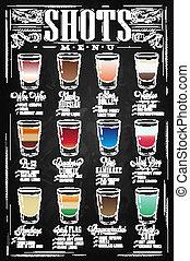 Shots menu chalk - Set of Shots menu with a shots drinks...