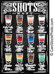 Set of Shots menu with a shots drinks with names in vintage style stylized drawing with chalk on chalkboard. Lettering
