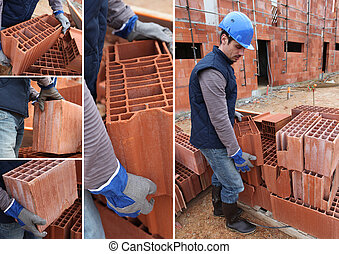 shots of bricklayer at work in construction site