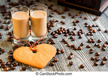 Shots of cream liqueur with coffee beans - Two shots of...
