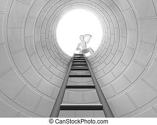 Should I climb down? - 3D render of a man looking down a ...