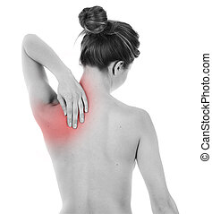 Shoulder and nape pain - Woman having pain on her back,...