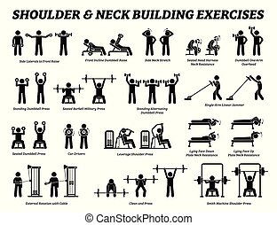 Shoulder and neck building exercise and muscle building stick figure pictograms.
