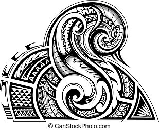 Shoulder and sleeve tattoo design in tribal art style