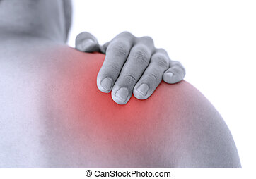Closeup of man holding his injured painful shoulder.