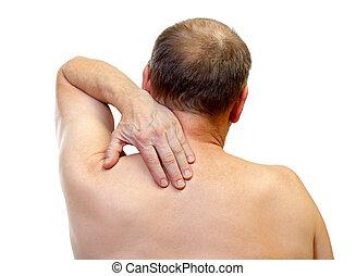 Shoulder pain - Portrait of a adult man touching his...