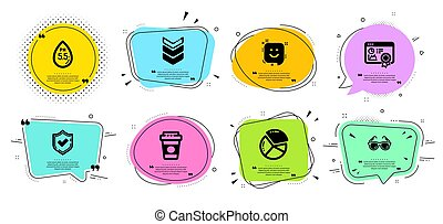 Shoulder strap, Smile and Pie chart icons set. Confirmed, Seo certificate and Ph neutral signs. Vector