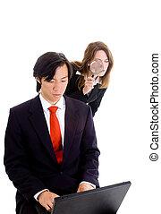 Shoulder Surfing Businessman Industrial Espionage - Young ...