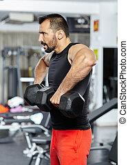 Shoulder workout with dumbbells