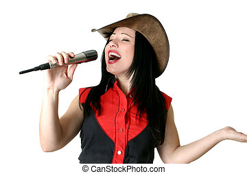 A woman belting out a tune with all her heart and soul, singing praises, etc...