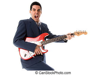 musician with red electric guitar shouting loud
