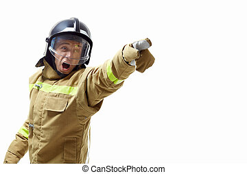 Screaming firefighter in uniform on a white background