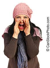 shouting, женщина, счастливый