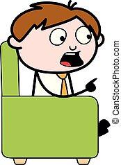Shouting and Debating - Office Salesman Employee Cartoon Vector Illustration
