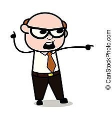 Shouting and Pointing Finger - Retro Cartoon Office old Boss Man Vector Illustration