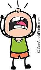 Shouting Bald Boy Cartoon