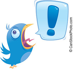 Shouting bluebird with speech bubble containing an exclamation point.