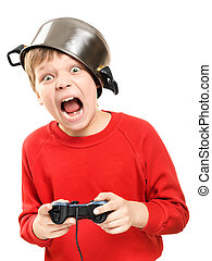 Shouting boy with gamepad in hands - Shouting boy with a pan...