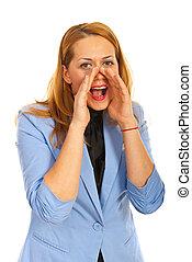 Shouting business woman