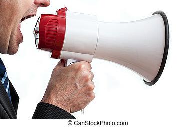 Shouting businessman - Businessman holding megaphone and...