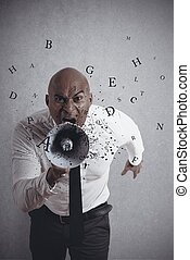 Shouting businessman - Concept of shouting businessman with ...