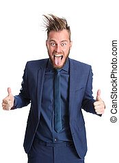 Shouting businessman in a blue suit