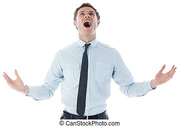 Shouting businessman on white background