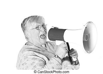 shouting b&w Granny