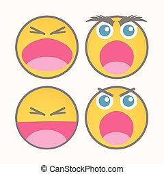 Shouting Cartoon Smiley Vector Set