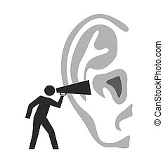 shouting - illustration of a figure shouting in an ear