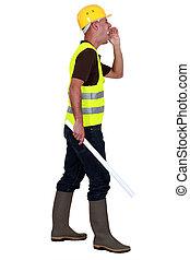shouting, construção, supervisor, local