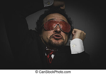 Shouting Crazy businessman with funny glasses