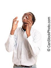 shouting, frustrado, homem