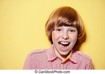 shouting happy boy