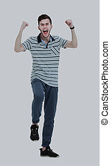 Shouting happy man with his arms raised up on white background.