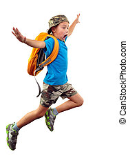 Full length portrait of a little boy with backpack and a cap running, jumping, waving with his hand and shouting. He is about ro fall down. Human emotion, facial expression, scared, worried, being late, stress, Isolated over white background.