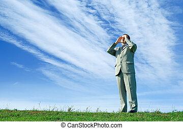 Shouting loud - Businessman in the nature, shouting loud, ...