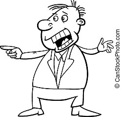shouting man cartoon coloring page - Black and White Cartoon...