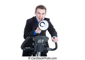 shouting, megafone, homem jovem