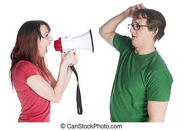 shouting, megafone, mulher, dela, homem