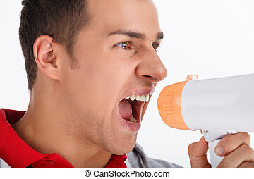 shouting, megaphone., treinador, megafone, retrato