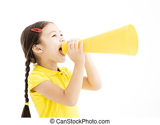 shouting, pequeno, megafone, menina, feliz