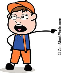 Shouting - Retro Cartoon Carpenter Worker Vector Illustration?
