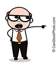 Shouting - Retro Cartoon Office old Boss Man Vector Illustration